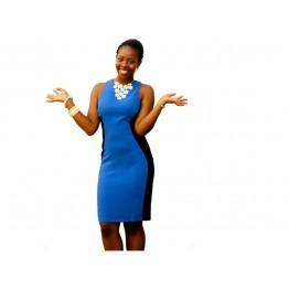 Atmosphere Colour Block Dress (Colour: Royal Blue / Black)