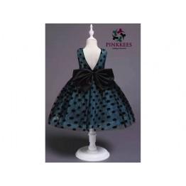 Oro Sequin Poka Dress - *Sky Blue-Black*