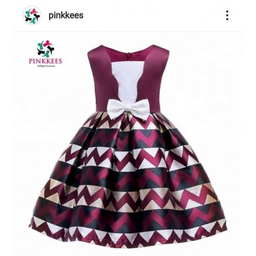 Wine Zigzag Pattern Dress