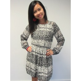 Atmosphere Black & White Floral Chiffon Dress with Belt
