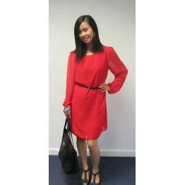 Atmosphere Red Chiffon Dress with Belt