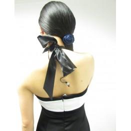 E-vie Black & White Embellished Halter Neck Dress