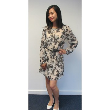 Atmosphere Floral Chiffon Dress with Belt