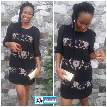 RJR Debenhams Black Embroidered/Embellished Dress.
