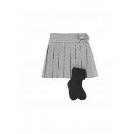 F&F Pleated Spot Skirt and Tights Set