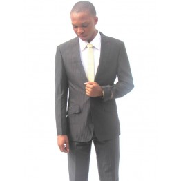 VENYBECCATO PARIS BLACK STRIPES SLIMFIT SUIT