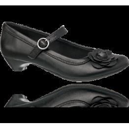 Agaxy Girls' Black Heeled Flower Shoe