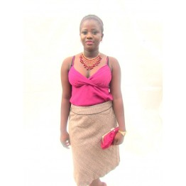 BROWN TAILORING SKIRT