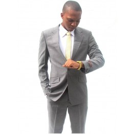 VENYBECCATO PARIS GREY STRIPES SLIMFIT SUIT