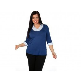 Marina Kaneva Classic Casual 3/4 Sleeve 2-in-1 Shirt Top (Plus size)